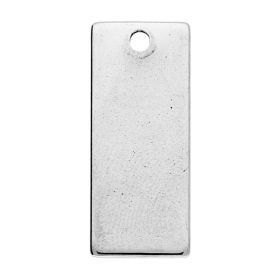 Rectangle / pendant / surgical steel / 21x9x1mm / silver / 2ps