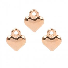 Rose Gold Plated Small Heart Charm 11.5x13.5mm Pk3