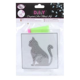 Beads Direct Crystal Motif Kit 'Silver Cat' with Tool