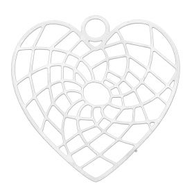 Heart / pendant filigree / surgical steel / 25x23mm / silver / 1pcs