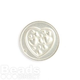 KB Small Matte Silver Heart/Love Coin Disk for Interchangeable Locket 24mm Pk1