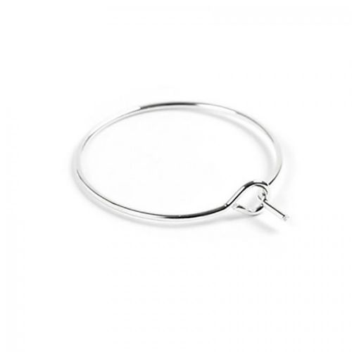X Silver Plated Wine Glass Charm Rings/Earring Hoops 30x34mm Pk10
