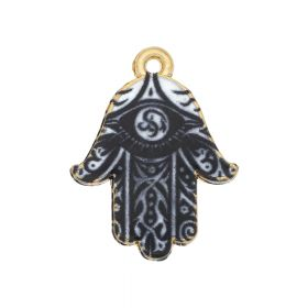 SweetCharm™ fatima hand / hamsa / charm pendant / 23x18x1.5mm / KC gold-black / 2pcs