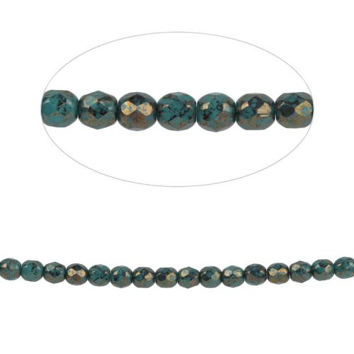 x Preciosa Czech Fire Polished Beads 4mm Golden Turquoise Pk100