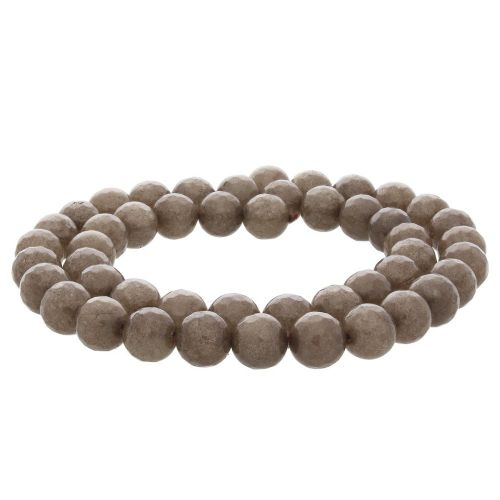 Agate / faceted round / 8mm / dark brown / 45pcs