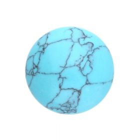 Howlite / cabochon / round / 16x16x6mm / turquoise / 1pcs