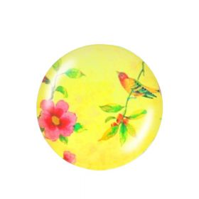 Glass cabochon with graphics K20 PT1218 / yellow / 20mm / 2pcs
