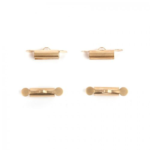 Matte Gold Plated Multi Strand Tube End for Cord 14x4mm Pk4