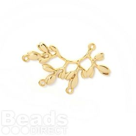 Gold Plated Brass Branch/Leaf Right Facing Top Loop 3 Base Loop 23x37mm Pk1