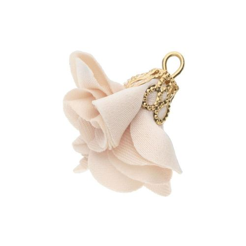 Satin Flower / with an openwork tip / 26mm / Gold Plated / cream / 2 pcs