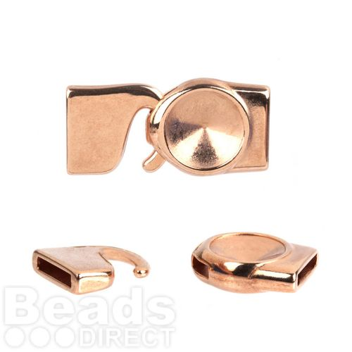Rose Gold Plated Zamak 12mm Rivoli Hook Clasp 10x2mm Pk1