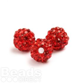 Red Round 8mm Essential Shamballa Fashion Bead Pk3