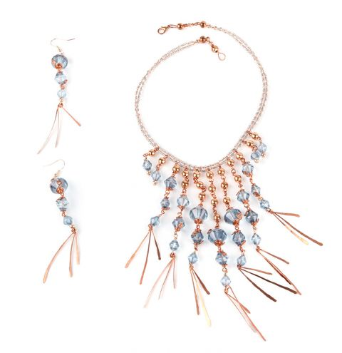 Crystal Plume Necklace and Earrings