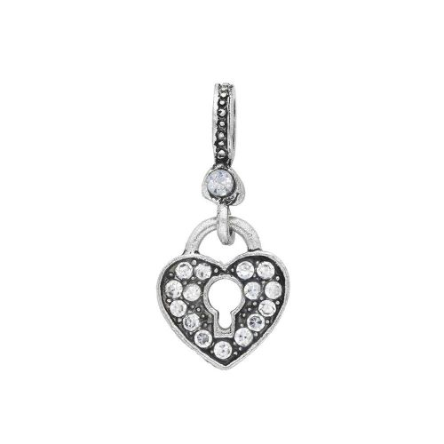 Glamm ™ Heart / charm pendant / with zircons / 26x12x7mm / silver plated / Crystal / 1pcs