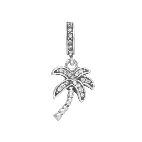 Glamm ™ Palm tree / charm pendant / with zircons / 28x12x10mm / silver plated / Crystal / 1pcs