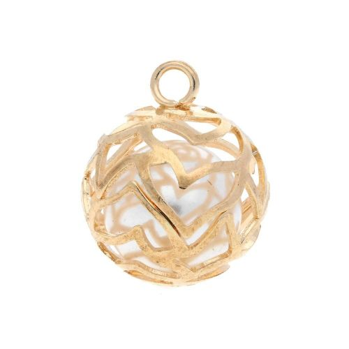 Pearl in openwork heart sphere / charm pendant / 19x16x16mm / gold plated / 1pcs