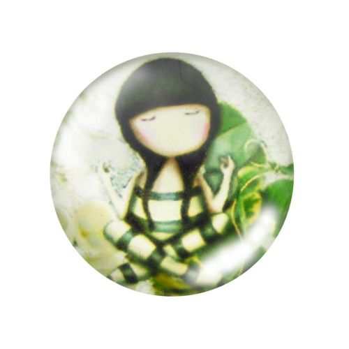 Glass cabochon with graphics 12mm PT1504 / green / 4pcs