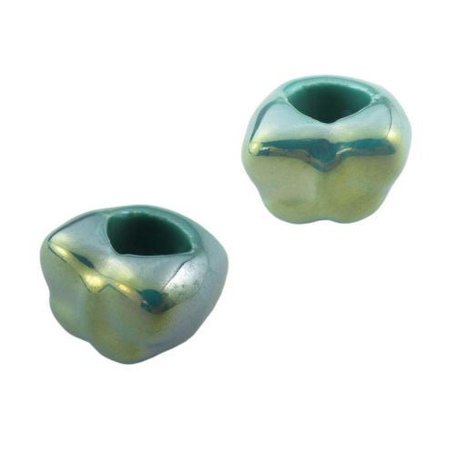 Ceramic beads / butterfly / 20x15mm / turquoise / iridescent / hole 10mm / 2pcs