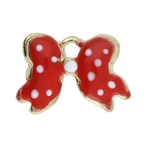 SweetCharm ™ Bow / charm pendant / 11x14x2.5mm / gold plated / red / 2pcs