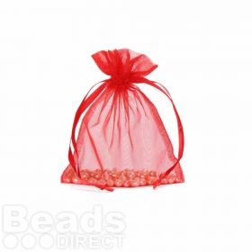 "Red Organza Bag 3""x4"" Pack 5"