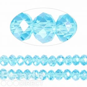 Essential Crystal Faceted 8mm Rondelle Turquoise AB 72pack