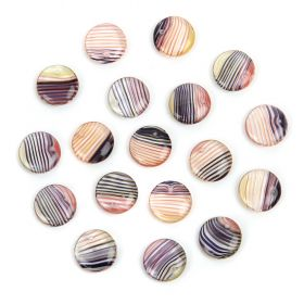 Preciosa Pressed Glass Coin Charms Yellow/Black Clear Stripe Effect 12mm Pk20