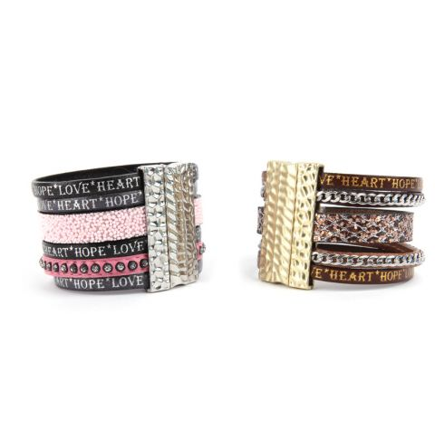 Strawberry and Toffee Leather Bracelets