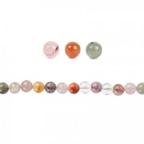 Multi Colour Rutilated Quartz Round Beads 6mm Pk20