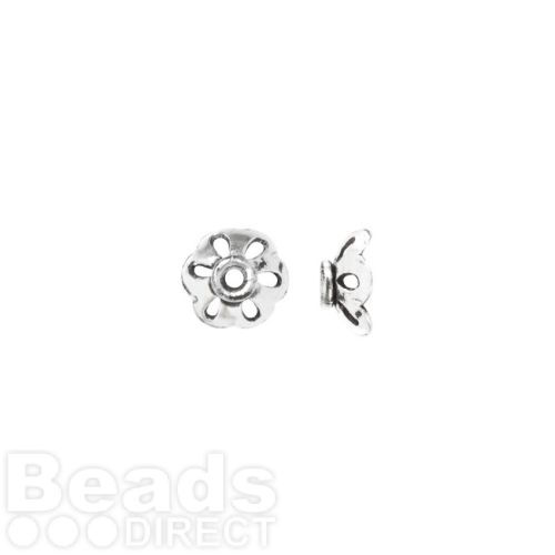 Antique Silver Plated Copper Flower Bead Cap 9mm Pk2