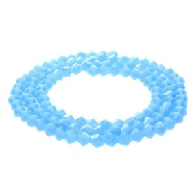 CrystaLove™ crystals / glass / bicone / 4mm / milky blue / lustered / 110pcs
