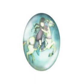 Glass cabochon with graphics oval 13x18mm PT1514 / green-white / 2pcs