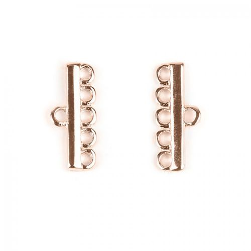 Rose Gold Plated 5 Strand Ends 8x18mm 1xPair