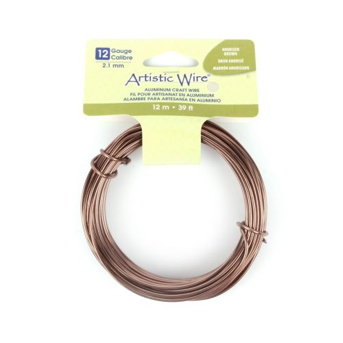 Beadalon Anodized Brown Craft Wire Aluminium 12gauge (2.1mm) 12metre Coil
