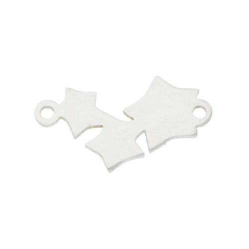Stars / connector / surgical steel / 11x18x1mm / silver / 1pcs