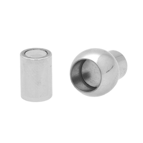 Magnetic clasp / surgical steel / ball / 17x8x8mm / silver / hole 4mm / 1pcs