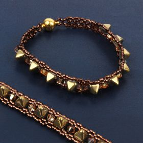 Metallic Sunshine Pyramid Woven Bracelet TAMB Kit - Makes x2