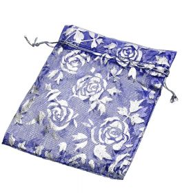 Organza bag / 10x12cm / navy with silver roses / 5pcs