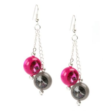 Crystal Orb Pink and Grey Earrings
