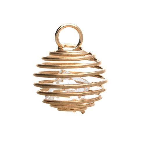 Coil with crystal / charm pendant / 19x15x15mm / gold plated / 1pcs