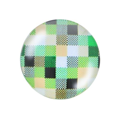 Glass cabochon with graphics K25 PT1292 / green / 25mm / 2pcs