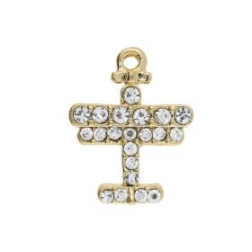 Glamm ™ Airplane / charm pendant / with zircons / 20x16x4.5mm / gold plated / 2pcs