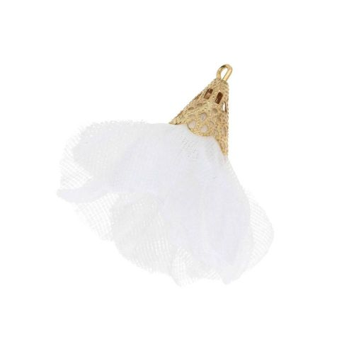Tulle flower / with openwork tip / 30mm / Gold Plated / white / 2 pcs