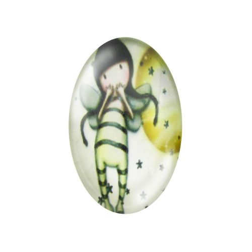 Glass cabochon with graphics oval 13x18mm PT1498 / cream / 2pcs