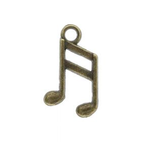 Music note / charm pendant / 16x9x1mm / antique bronze / hole 2mm / 8pcs
