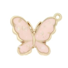 SweetCharm ™ Butterfly / charms pendant with mother of pearl / 18x21x3mm / gold plated / apricot / 1pcs
