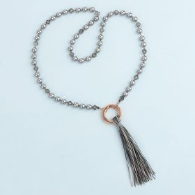 Monochrome Knotted Tassel Necklace Kit made with Swarovski TAMB makes x1