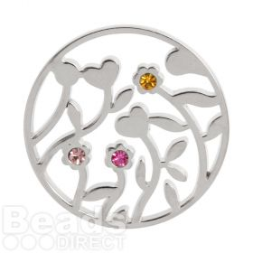 KB Matte Silver Plated Flower Filigree Coloured Crystal Coin for Locket 32mm Pk1