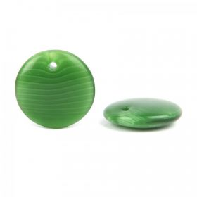 Preciosa Pressed Glass Coin Charm Green/White Stripe 12mm Pk20
