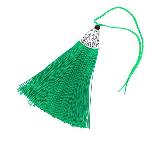 Tassel / viscose thread / silver flat end cap / 80mm / green / 1pcs