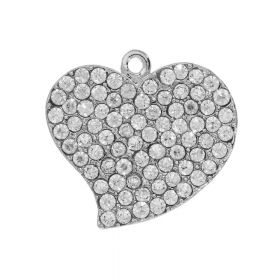 Glamm ™ Heart / charm pendant / with cubic zirconia / 22x19mm / silver plated / 1pcs